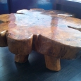 Coffee table from tree trunk cross-section - wood sculpture & garden art