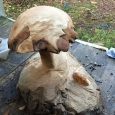 Mushroom with mouse carving - wood sculpture & garden art