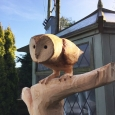 Barn owl - wood sculpture & garden art