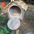 Birdfeeder open - wood sculpture & garden art