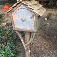 Birdfeeder closed - wood sculpture & garden art