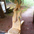 Rustic garden seat - wood sculpture & garden art