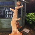 Squirrel & barn owl again - wood sculpture & garden art
