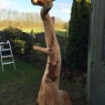 Squirrel & barn owl carved from rooted tree trunk - wood sculpture & garden art