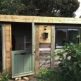 Shed with painted door