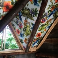 Tree house den with wallpaper